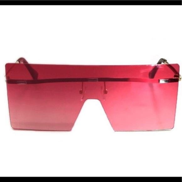 Red Oversized Modern Shield Sunglasses